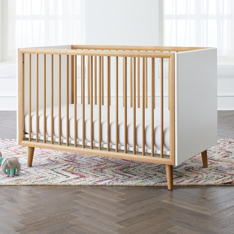 Mid Century 3 In 1 Spindle Crib Crate And Barrel Cribs Baby Cribs Kids Furniture