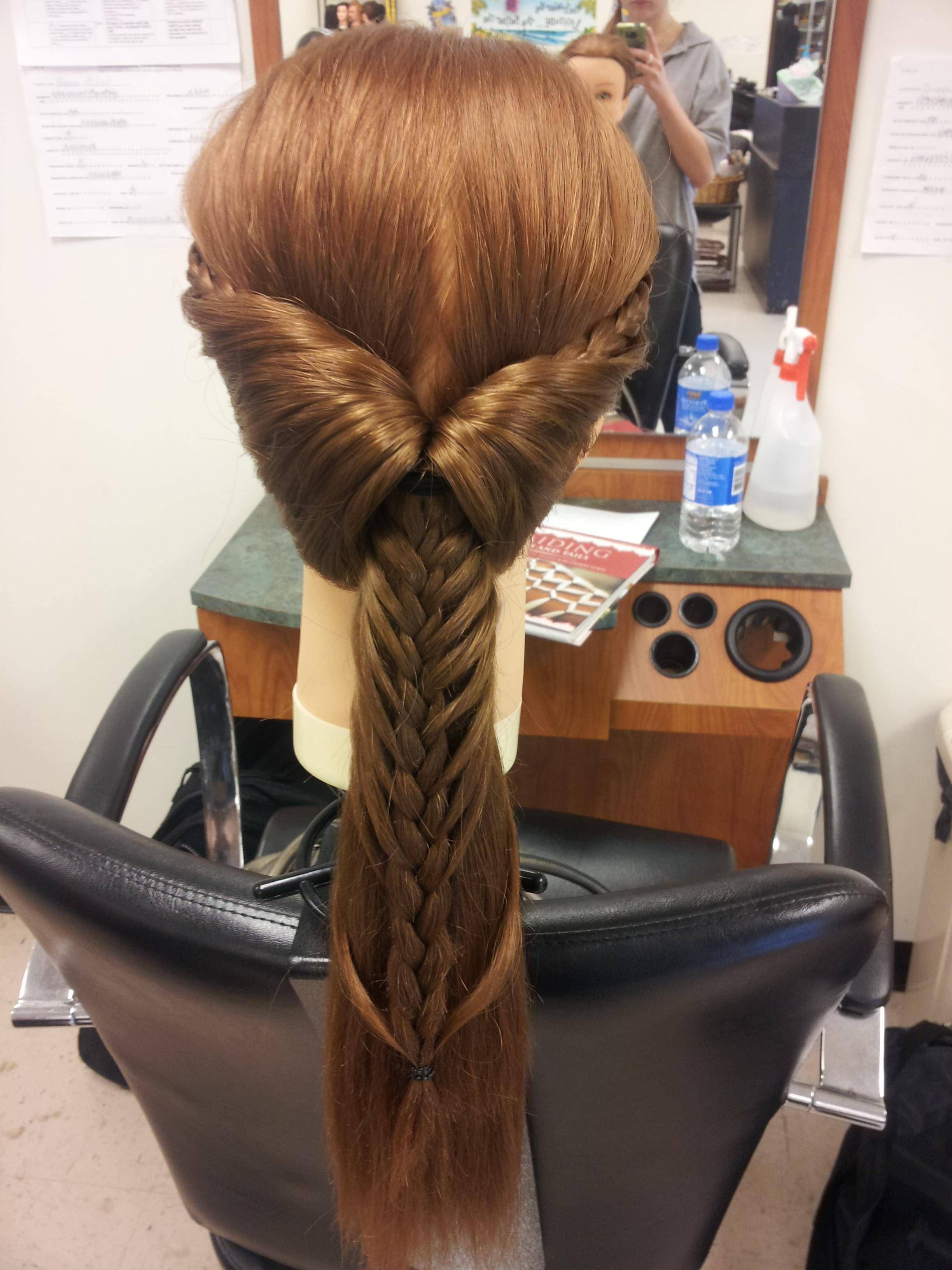 unfortunately there is no how-to with this picture, but it looks like they made a french-braid in a pony tail.