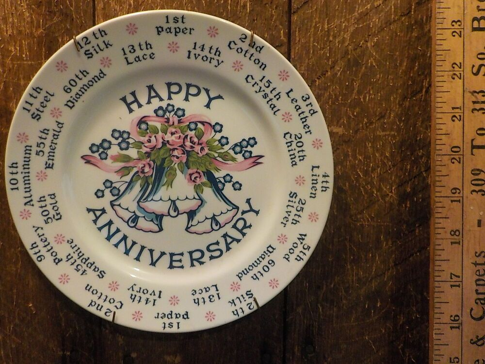 Vintage Happy Anniversary Porcelain Plate Made in Japan Gift