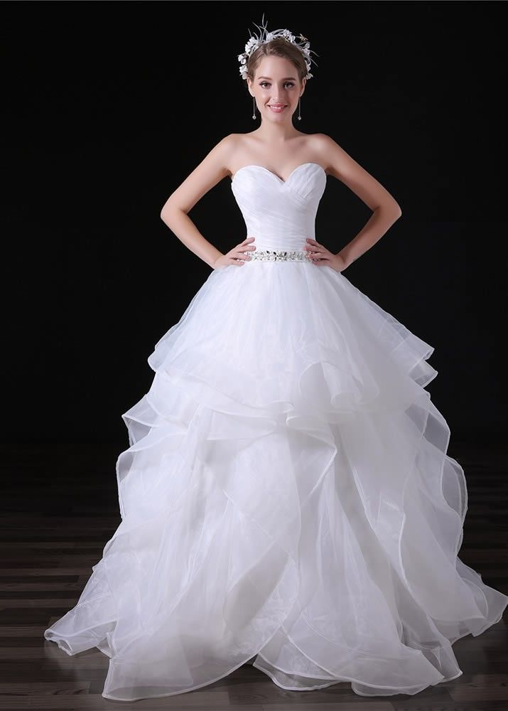 Ball Gown Sweetheart Stretchy Tulle Satin Wedding Dress With Sequin