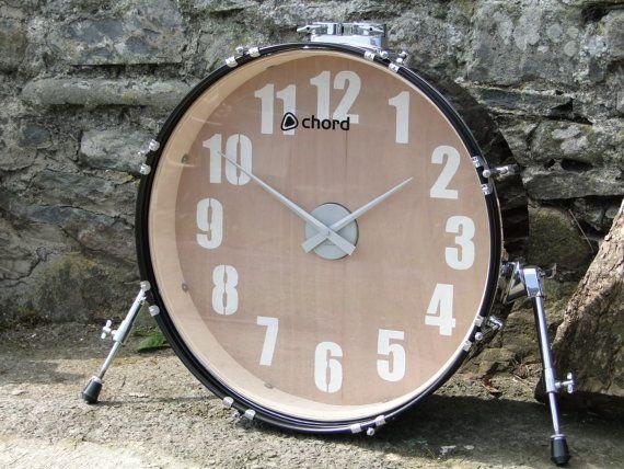 Man Caves Ni : Wall clock reclaimed bass drum xl! man cave! clocks