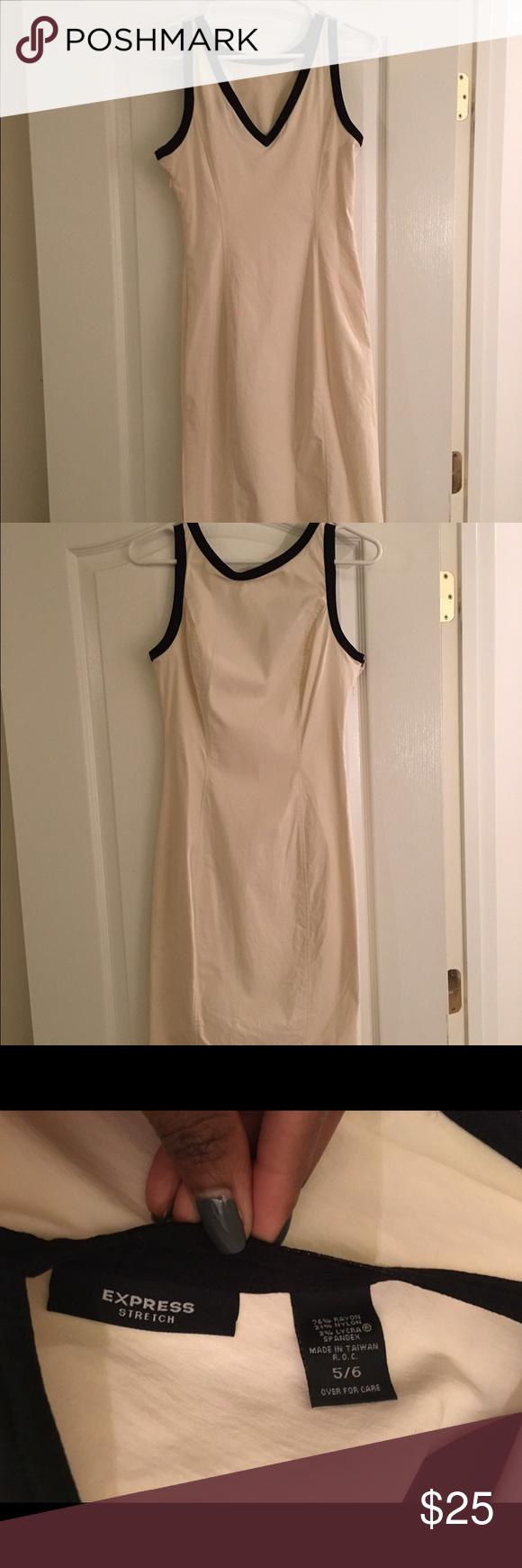 Express stretch cream dress Stretch dress size 5/6. Great condition. Express Dresses