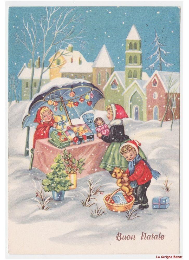 Immagini Cartoline Natale Vintage.Bambini Mercatino Di Natale Giocattoli Decorazioni Natalizie Cartolina Vintage Biglietti Di Natale Vintage Carta D Epoca Cartoline Di Natale