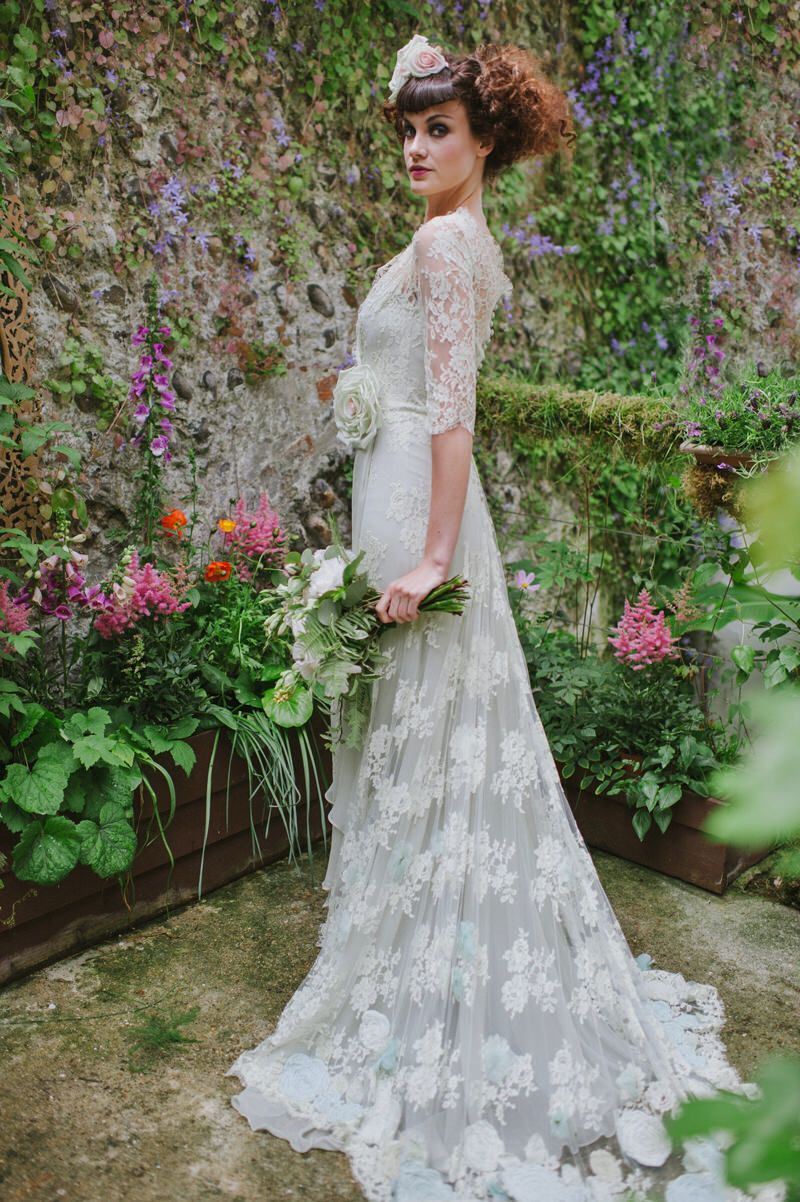 Pale Green Lace Wedding Dress With A Vintage Inspired Style Lace