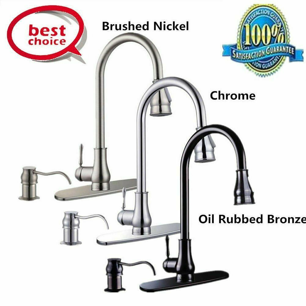 Details About Single Handle Kitchen Sink Faucet Pull Out Spray Brushed Nickel With 10 Cover B Sink Faucets Kitchen Sink Faucets Chrome Kitchen Sink Faucets