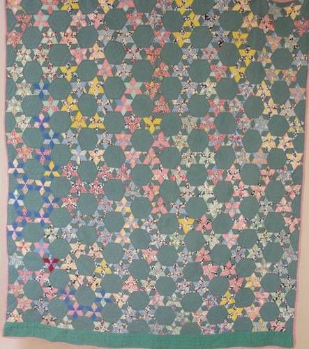 Beautiful Vintage Pink Green Feedsack Star Quilt Small Scale Stars   eBay