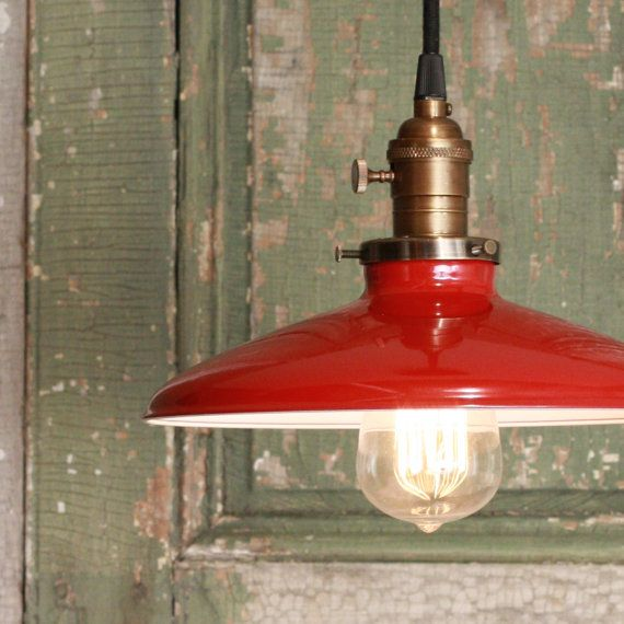 Pendant Light With Red Enamel Shade By