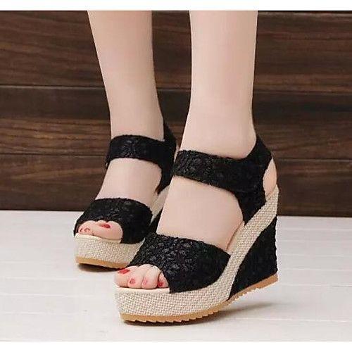Mujer Zapatos Tejido Primavera / Verano Confort Sandalias Tacón Cuña Negro / Azul / Rosa / Tacones de cuña 9khYMFsdn