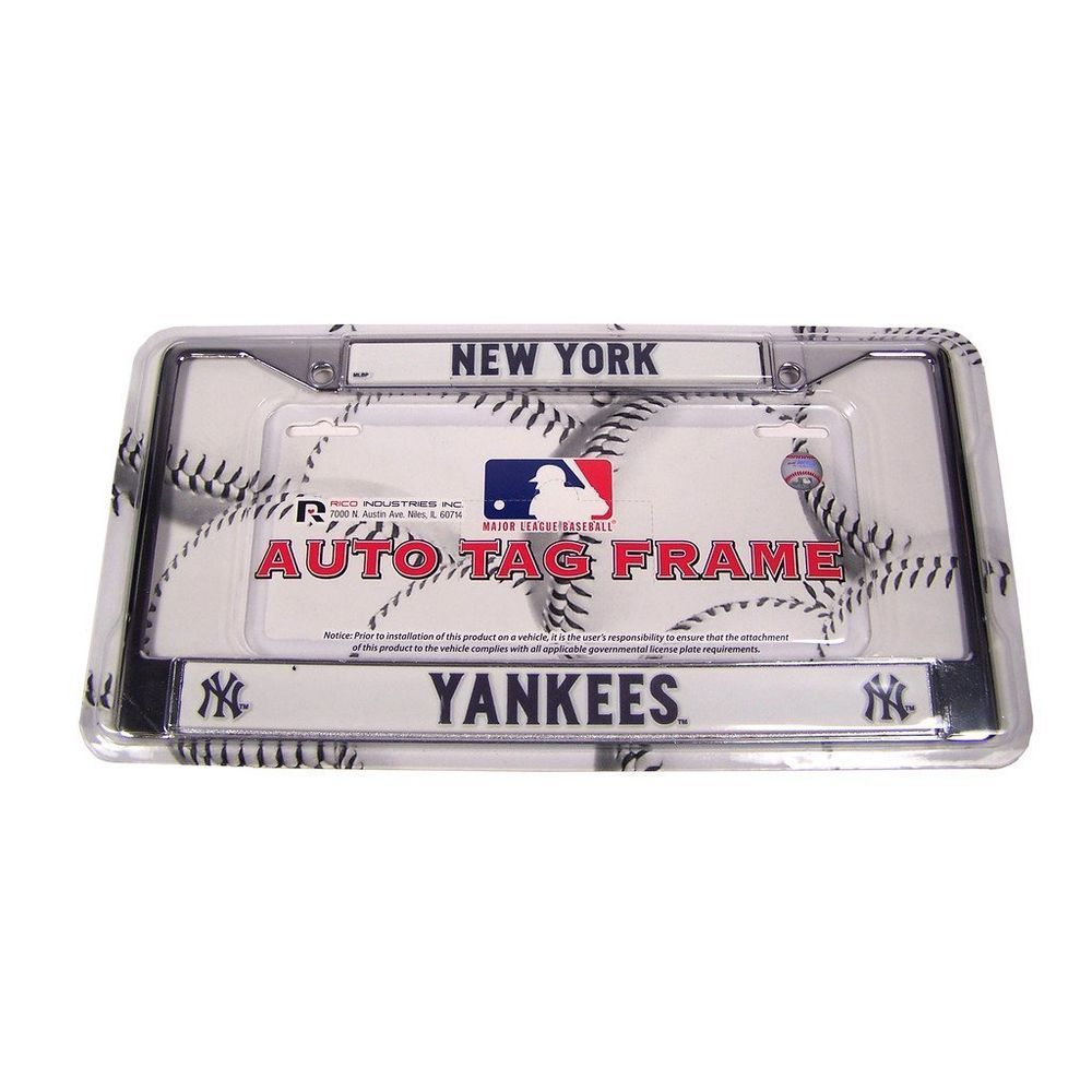 New York Yankees Metal Chrome License Plate Frame Auto Truck Car Rico Industries