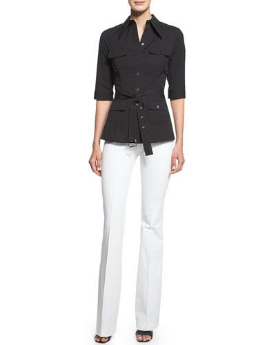 -670F Michael Kors Collection  Elbow-Sleeve Belted Utility Shirt, Black Mid-Rise Flare-Leg Pants, Optic White
