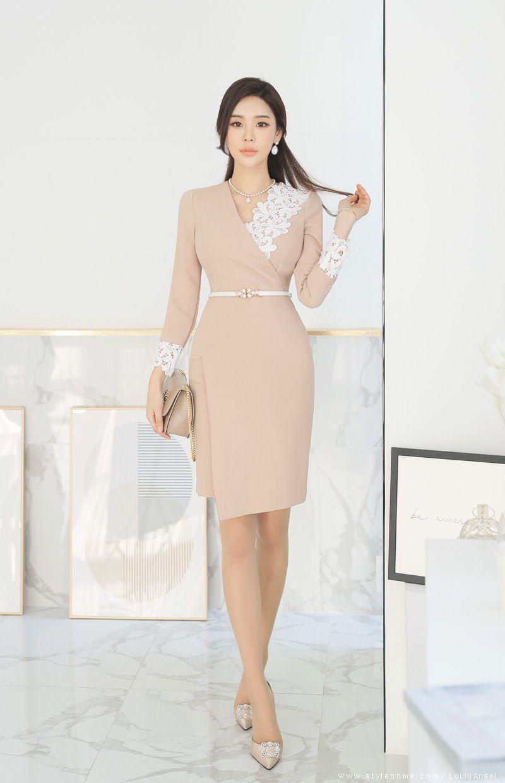 Floral Lace Detail Wrap Style Dress