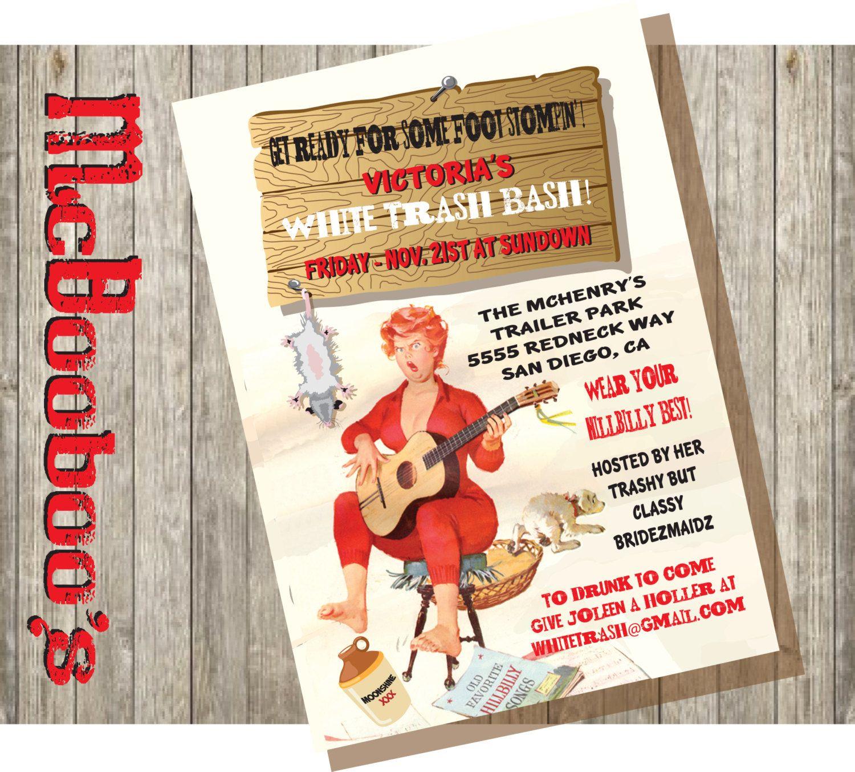 Hillbilly Pin Up White Trash Bash Bachelorette Party Invitations – Trailer Trash Party Invitations