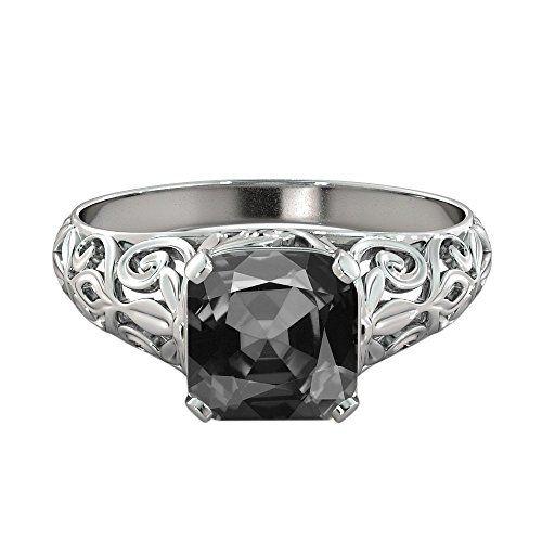 Black Diamond Engagement Ring 14K White Gold Vintage Art Deco Filigree...