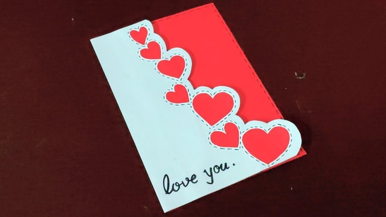 Handmade Cute And Simple Card For Valentines Day Valentine Day