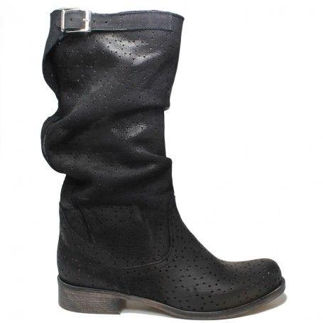Stivali Biker Boots Traforati Estivi in Vera Pelle Nero  54e9248c862