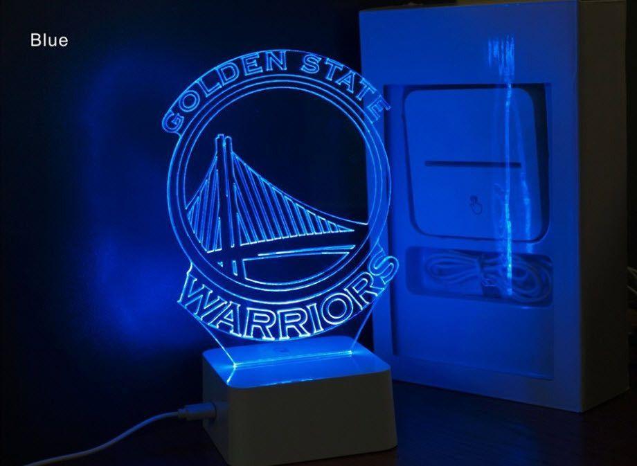 Nba Golden State Warriors 3d Led Light Lamp Golden State Warriors Bedroom Golden State Warriors 3d Led Light