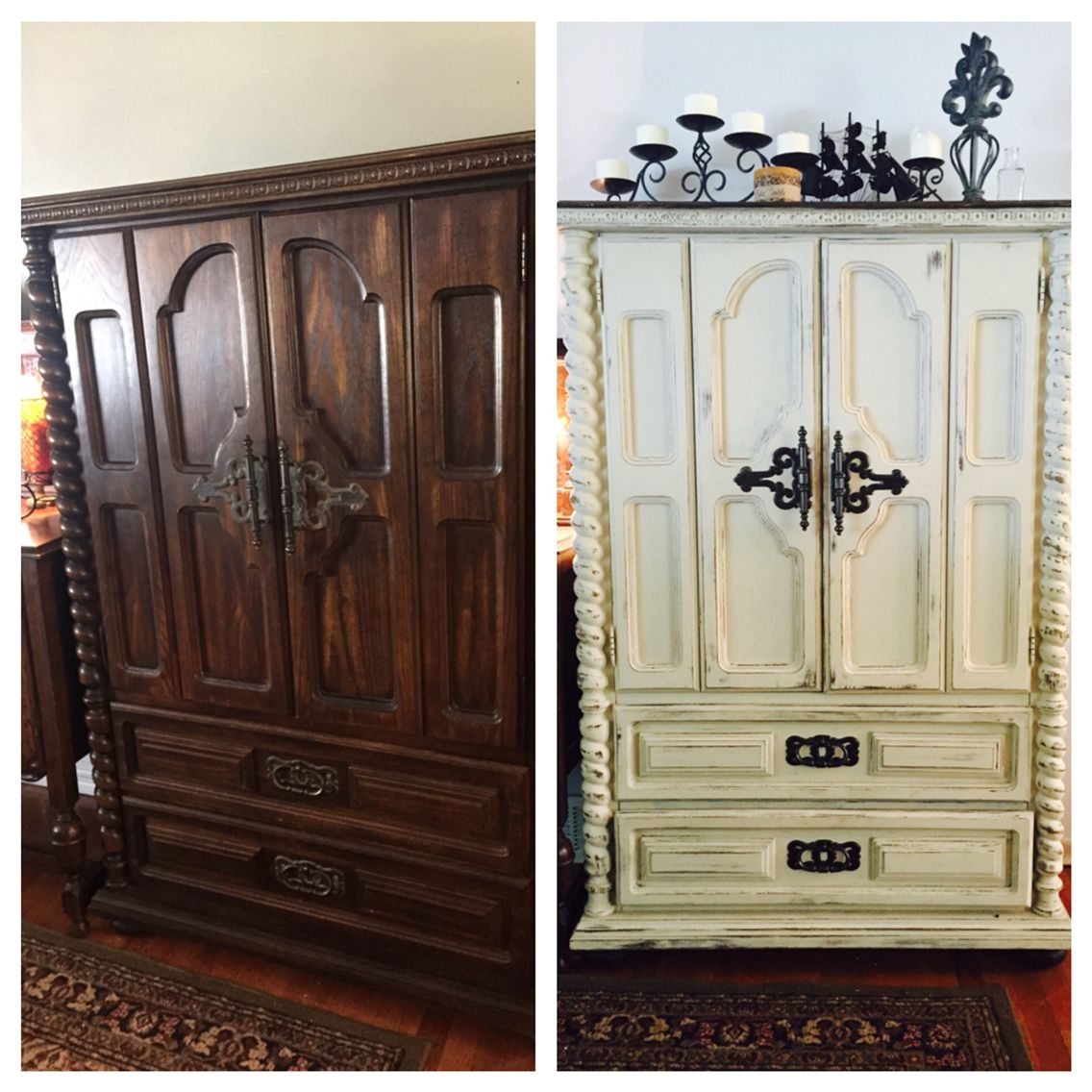 An armoire hides kid cubbies and storage for shoes in drawers . Painted in Annie Sloan ocre chalk paint to brighten the entry way & distressed for a shabby look  and sealed in clear. The hardware was unscrewed and spray painted with a primer metallic black paint & sealed in clear then reapplied for a nice contrast .