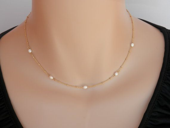 Gold Choker Necklace for woman T-Bar Gold Choker Natural Pearl Necklace Gold Link Chain Choker Gold choker Freshwater Pearl necklace
