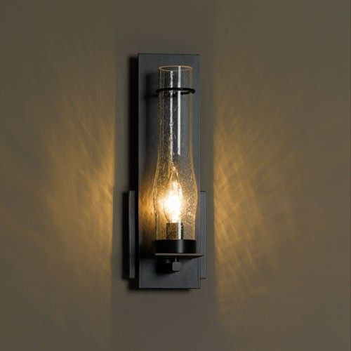 Hubbardton Forge New Town Sconce: New Town Medium Seeded Glass Wall Sconce, Mahogany Finish