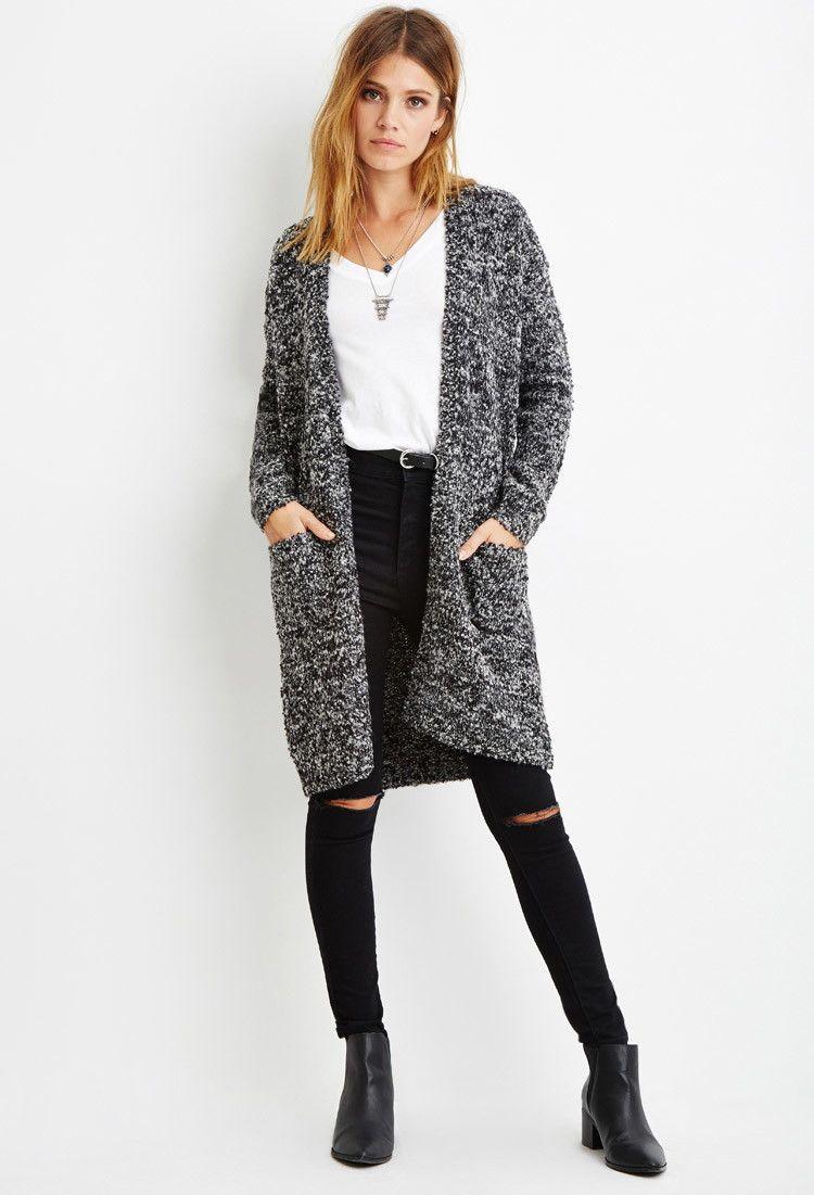 Fuzzy Longline Cardigan - Sweatshirts & Knits - 2000141192 ...