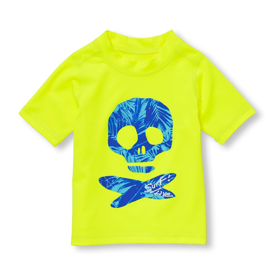The Childrens Place Boys Short Sleeve Solid Rash Guard