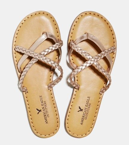 Strappy Braided Sandal Rose Gold Keep It Beachy