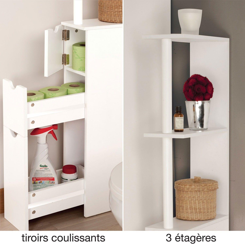 Meuble Wc Bois: Meuble WC étagère Bois 3 Portes Blanc Gain De Place Pour