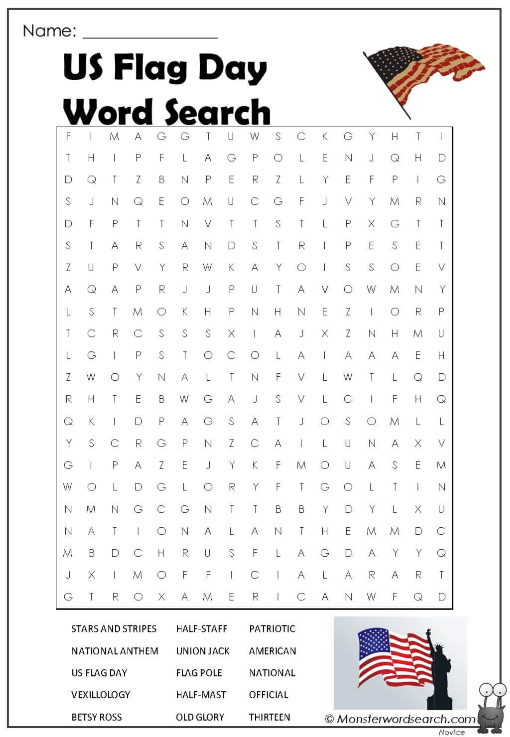 Us Flag Day Word Search In
