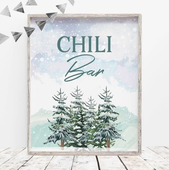 Chili Bar Print | Holiday Event Print | Instant Download | Food Station Print | Printable Party Deco #chilibar