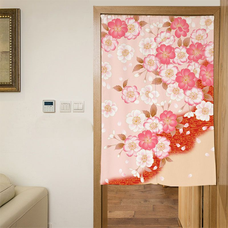 Japanese Cherry Tree Short Kitchen Curtains Digital Printing Polyester Tube Hanging Curtain Red Flower Rectangle Bedroom