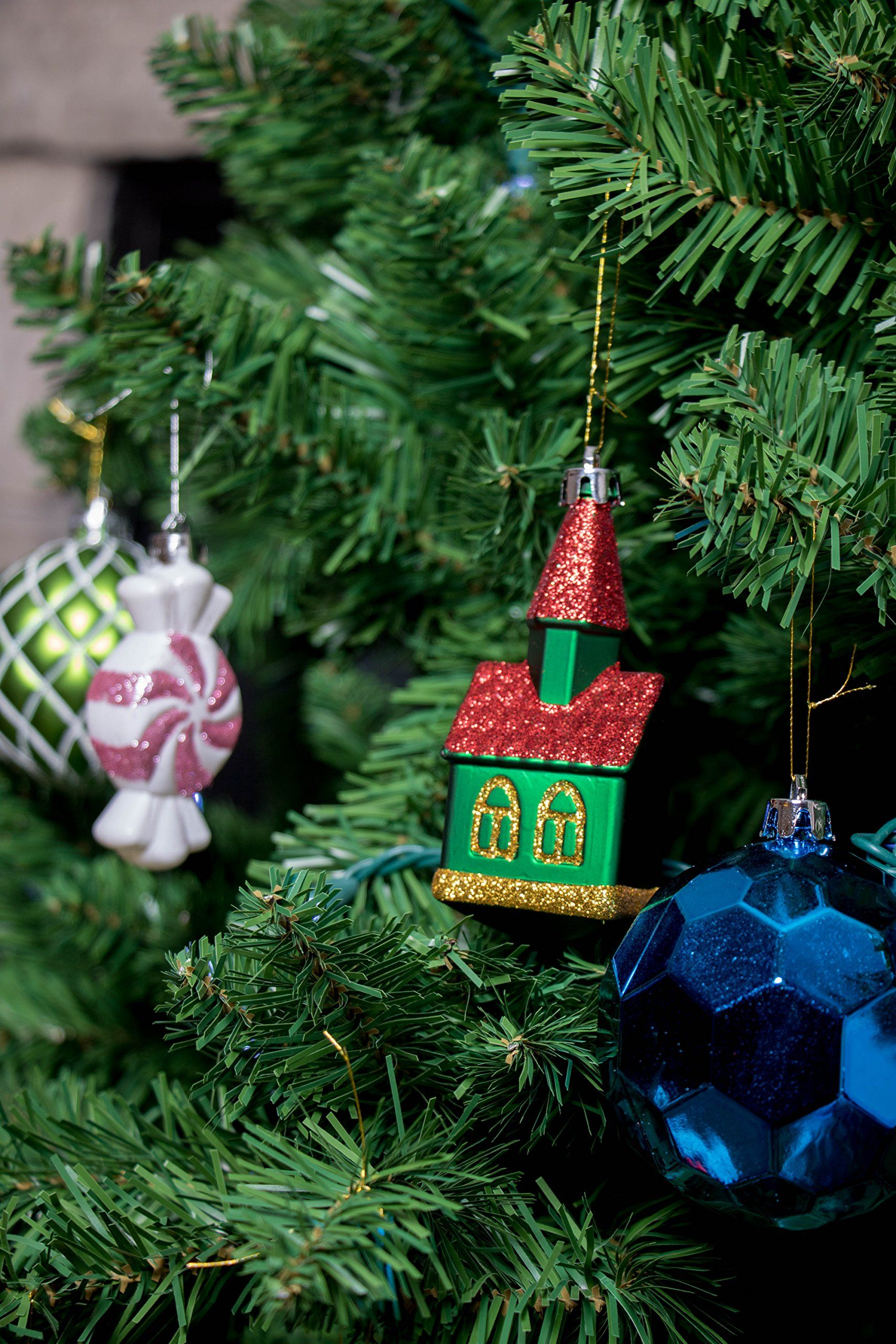 52 Piece Variety Bundle Shatterproof Christmas Tree Ornament Set 9 Shapes Trees Cupcakes Pepper Christmas Tree Ornaments Festive Holiday Decor Christmas Tree