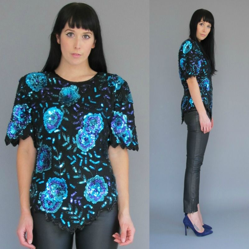 Vintage Sequin Jagged Edge Top