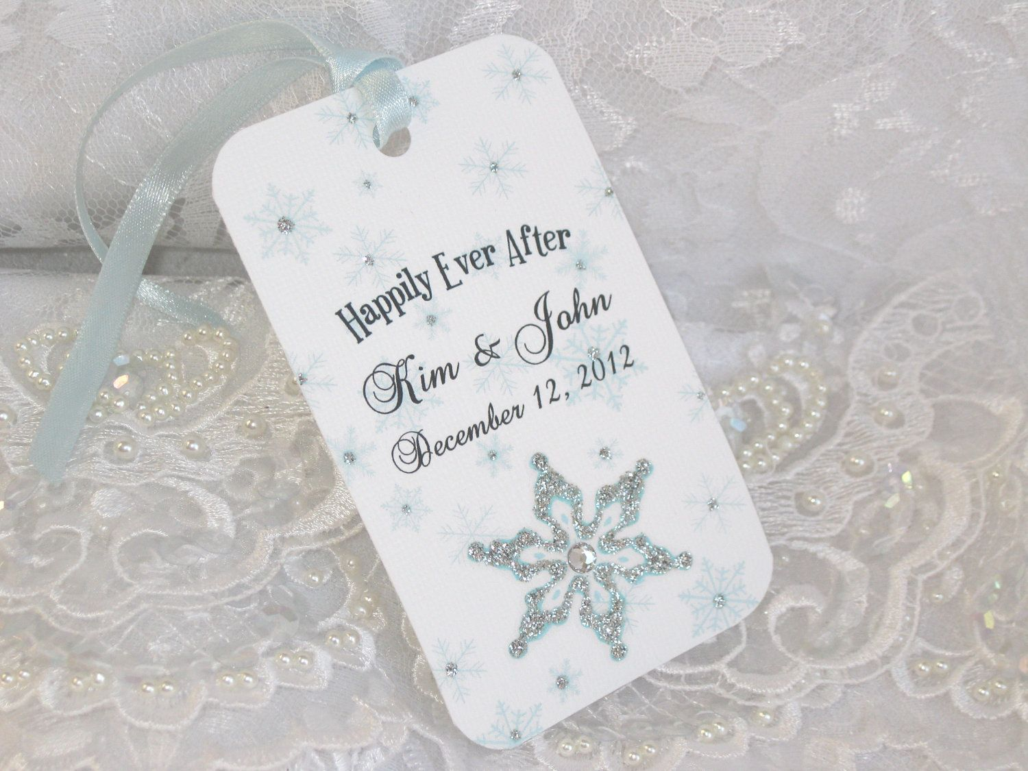 Snowflake Personalized Winter Wishing Tree Tag Tags Wedding ...