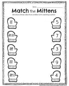 Kindergarten Tally worksheet - Match the Mittens. Draw a line from each mitten to it's match, and other fun kindergarten worksheets.
