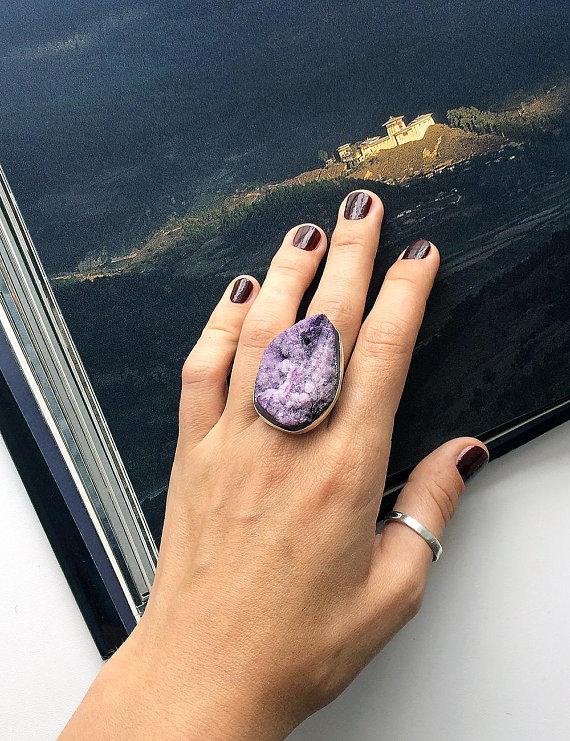 Chunky Gemstone Statement Ring OOAK Choose One Fun Fashion Real Gems Steel