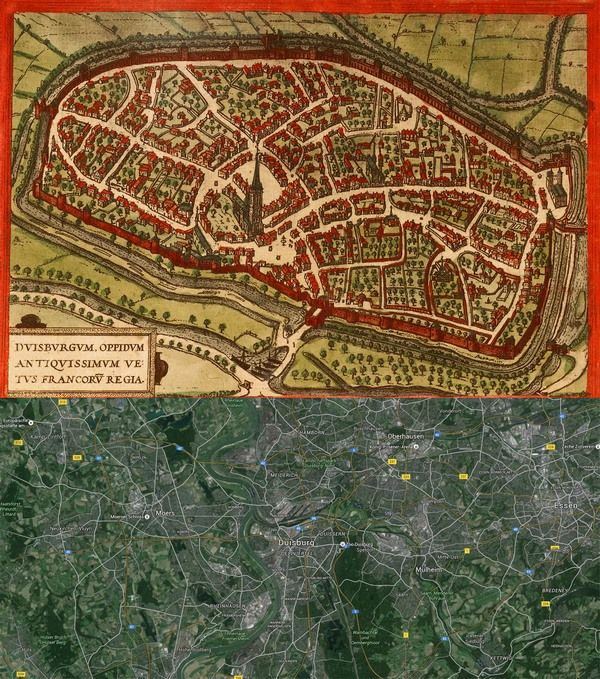 Duisburg Germany Map Then And Now OldCities - Germany map then and now