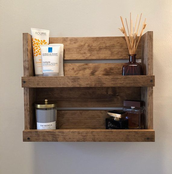 Simple Wooden Floating Shelf For Bathroom Supplies Organization