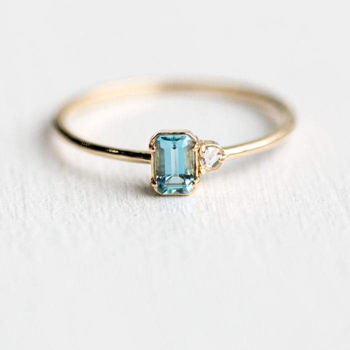 Take Me With You Ring In Aquamarine In Solid 14k Yellow