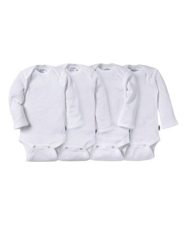Look what I found on #zulily! White Long-Sleeve Bodysuit Set - Infant by Jockey #zulilyfinds