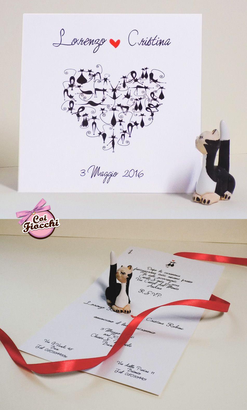 Matrimonio Tema Gatti : Partecipazioni di matrimonio a tema cani o gatti