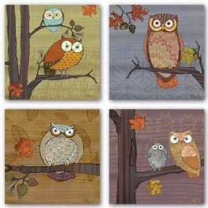 """(amazon.com) Awesome Owls Set by Paul Brent 8""""x8"""" Art Print Poster"""