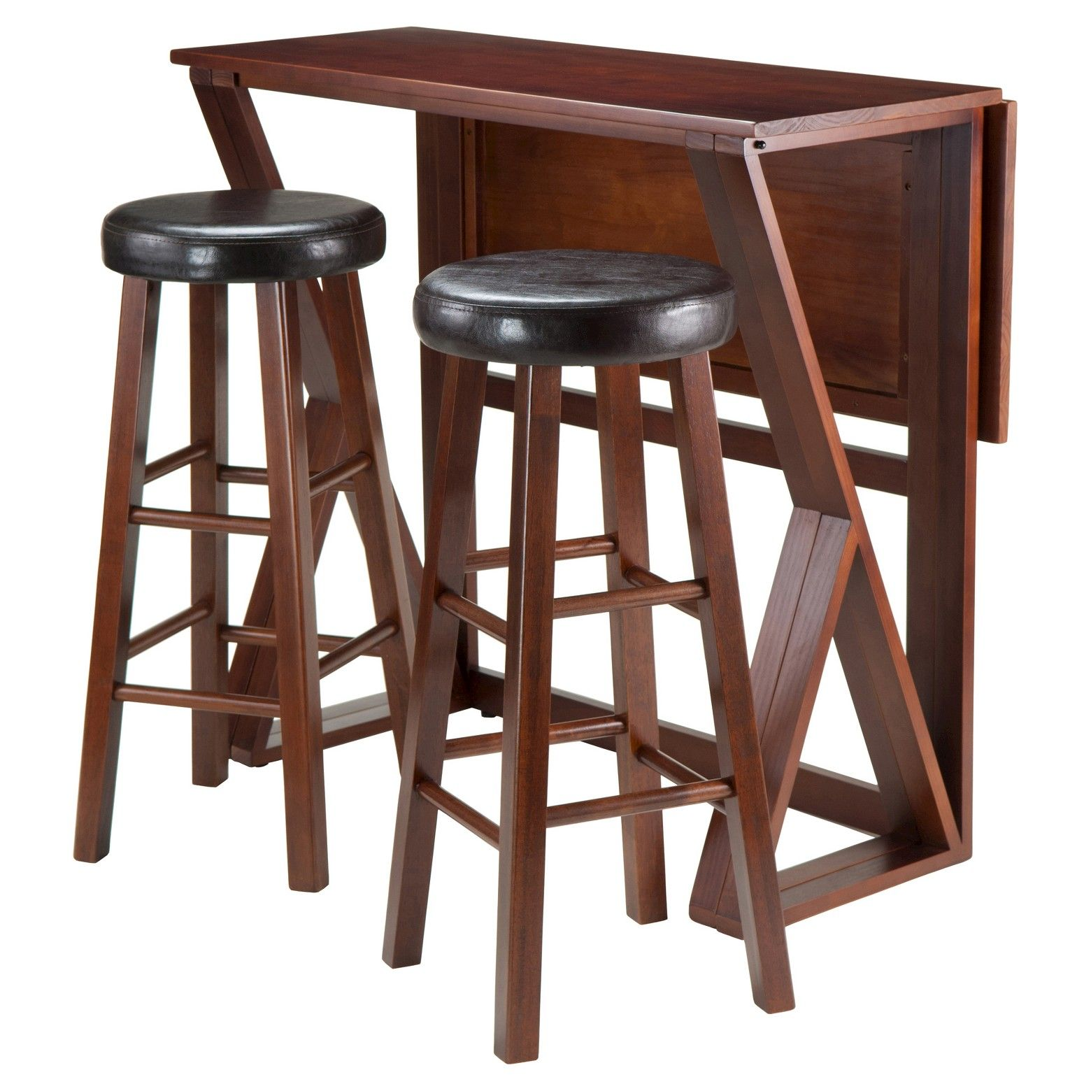 3 Piece Harrington Set Drop Leaf High Table with Bar Stools