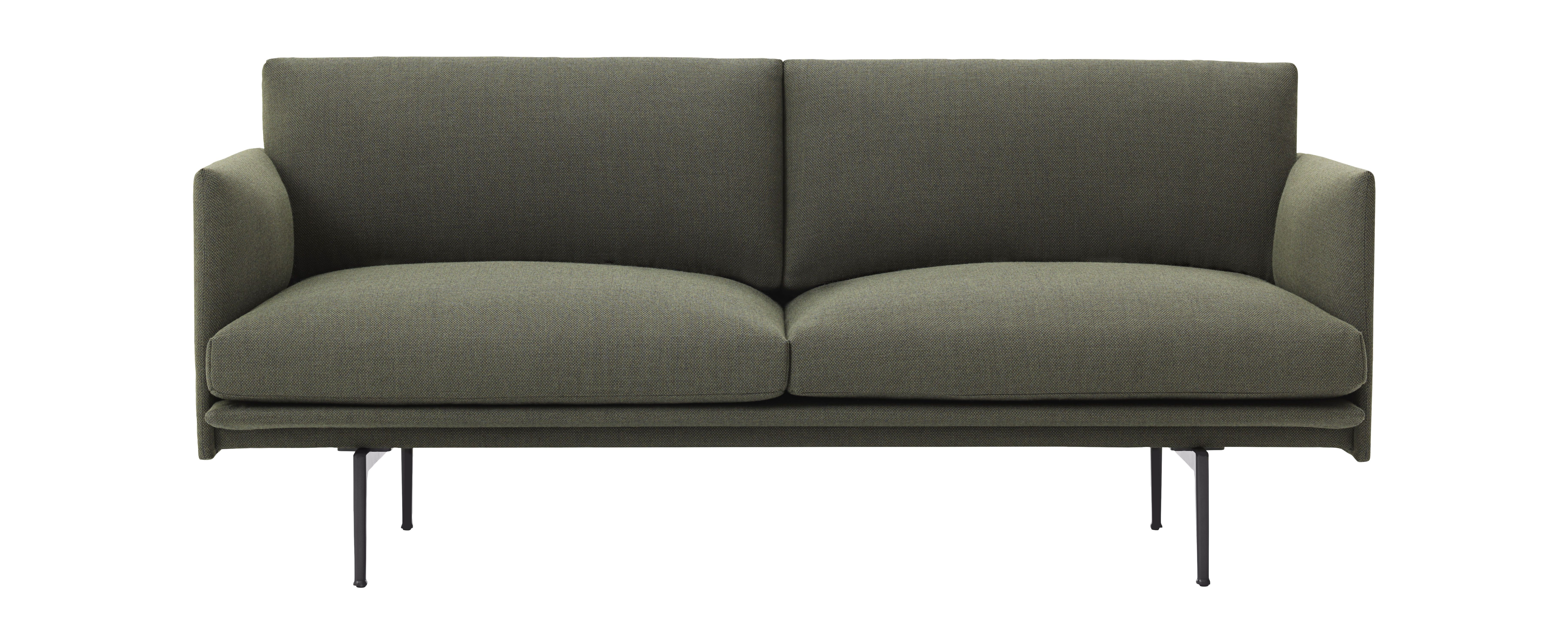 Canap 2 places outline l 170 cm tissu vert kaki - Canape made in design ...