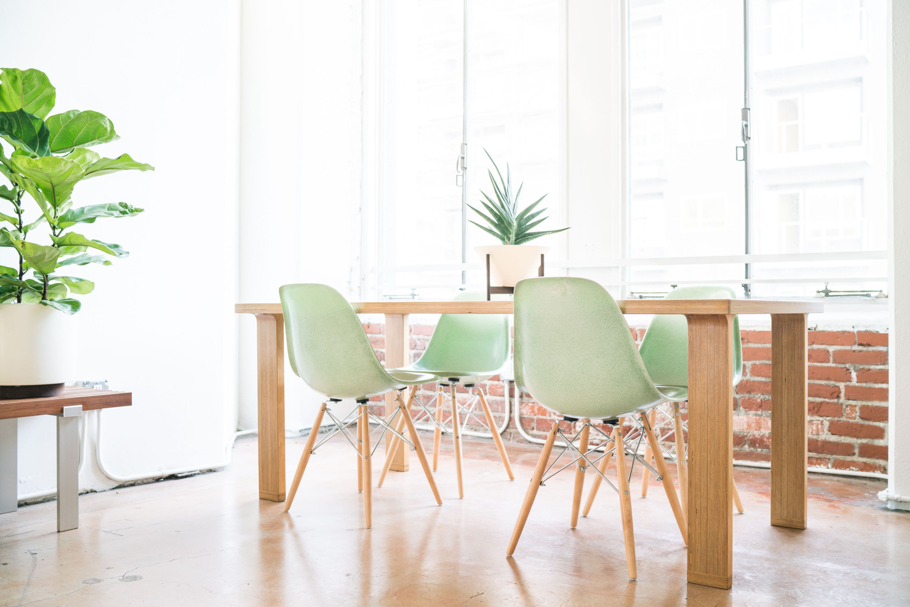 Modernica Case Study Fiberglass Shell Chairs In Jadeite And Tenon Table,  Case Study Ceramic Cylinder