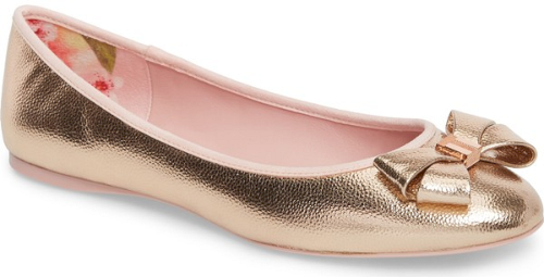1360886d762c Ted Baker London Immet Ballet Flat in Pink. Rich pebbling defines a  generously cushioned ballet flat with a matching layered bow anchored by a  metallic logo ...
