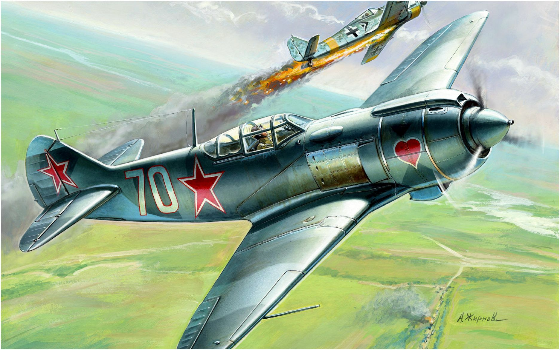 Lavochkin La-5FN 'White 70' by Andrey Zhirnov … | Fighter, Airplane art,  Wwii aircraft