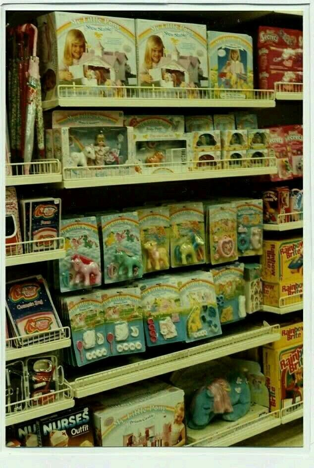 1980's toy store aisle (looks like maybe Kmart). I remmber those My Little Pony's.