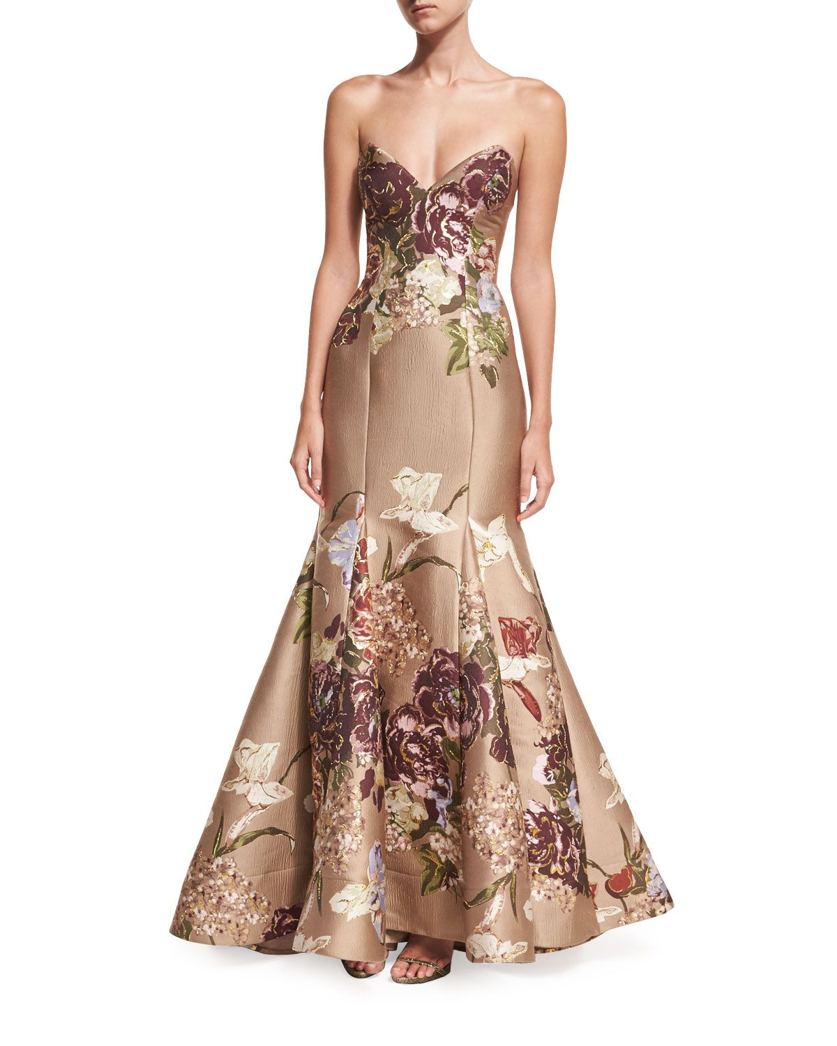 Floral Strapless Sweetheart Bustier Evening Gown w/ Trumpet Skirt ...