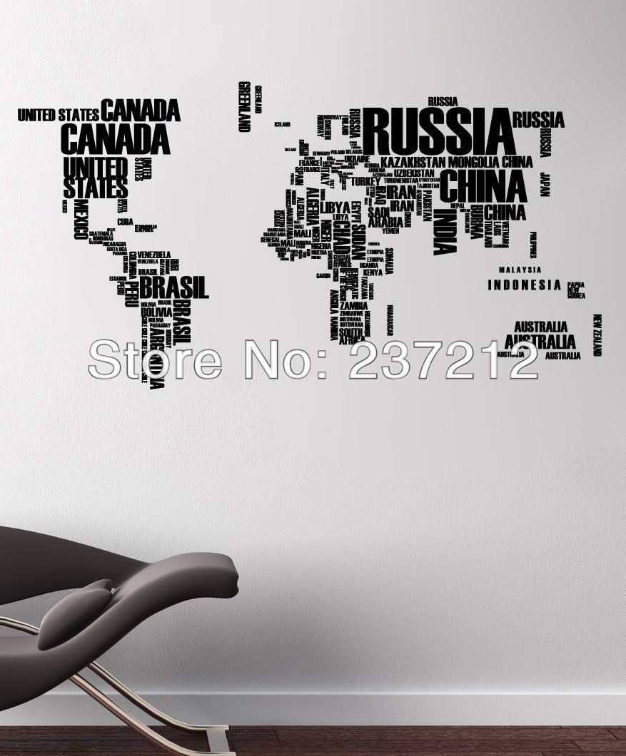 World map in words removable vinyl quote art wall sticker decal world map in words removable vinyl quote art wall sticker decal mural decor 3d wall gumiabroncs Images