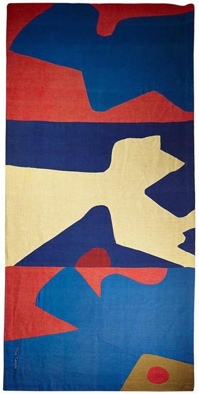 Sten Kauppi; Fabric Collage 'Bonfire' Wall Panel, 1960s.